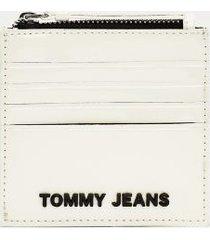 tommy hilfiger women's tommy metallic zip card holder silver -