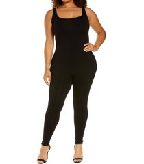 plus size women's naked wardrobe sleeveless jumpsuit, size 3x - black