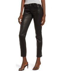 hudson jeans hudson nico straight leg ankle leather pants, size 31 in black at nordstrom