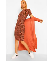 geribbelde luipaardprint midi jurk en duster jas set, rust