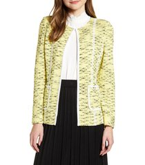 women's ming wing contrast detail collarless jacket