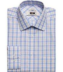 joseph abboud light blue & taupe plaid dress shirt