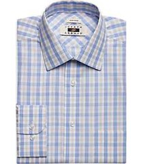 joseph abboud light blue & taupe plaid dress shirt
