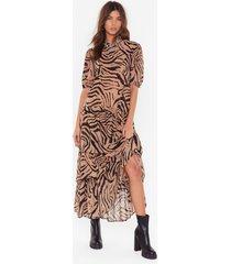 womens haven't you herd zebra maxi dress - camel
