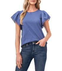 cece lace detail flutter sleeve cotton blend tee, size x-small in blue haze at nordstrom