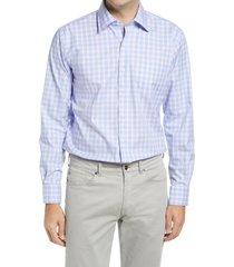 men's peter millar crown ease cooper regular fit stretch check button-up shirt, size medium - blue