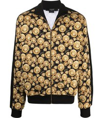 versace medusa head motif cotton jacket - black