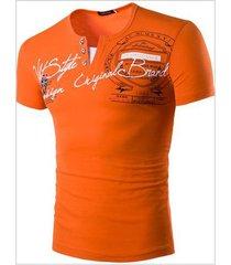 nueva camiseta con cuello en v de manga corta con monograma para hombre