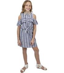 big girls tie front rhinestone collar dress