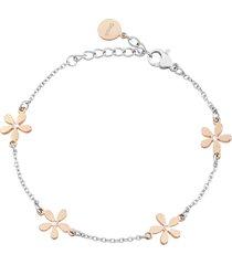 bracciale fiore in acciaio bicolore e cristalli per donna