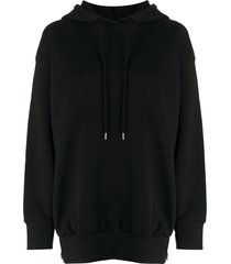 stella mccartney slogan-print drop-shoulder hoodie - black