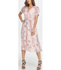 dkny floral puff sleeve v-neck midi dress
