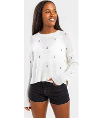 women's vick anchor pullover sweater in ivory by francesca's - size: 3x