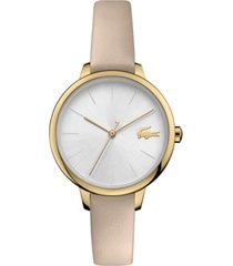 lacoste women's cannes taupe leather strap watch 34mm