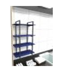 prateleira industrial lavanderia aço preto 60x30x98cm cxlxa mdf azul modelo ind41azlav