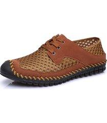scarpe casual da uomo con tacco pieghevole in lycra e cuciture a mano
