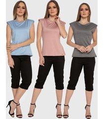 kit 3 blusas regata muscle tee carbella regata modal confort com ombreira azul/rosa/cinza - kanui
