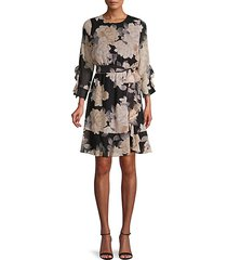 floral-print ruffled belted dress