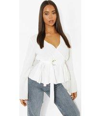 blouse met wijde mouwen en ceintuur, ivory