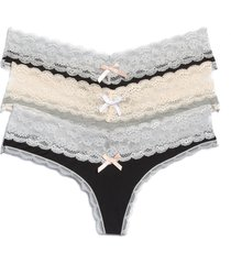 women's honeydew intimates ahna 3-pack lace thong, size x-large - black