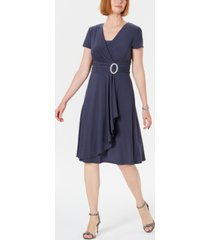 r & m richards short-sleeve faux-wrap dress