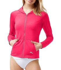 tommy bahama women's pearl long-sleeve hooded rashguard - caribbean - size xxs