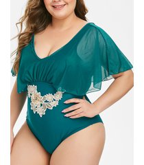 floral embroidered applique mesh panel one-piece plus size swimsuit