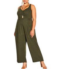 plus size women's city chic paradise cotton & linen jumpsuit, size x-small - green