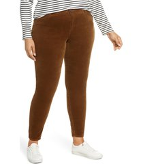 plus size women's kut from the kloth diana cord skinny jeans, size 16w - brown