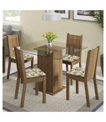conjunto sala de jantar madesa magda mesa tampo de vidro com 4 cadeiras rustic/lírio bege