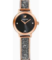 orologio cosmic rock, bracciale di metallo, nero, pvd oro rosa