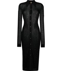 dodo bar or open-knit midi dress - black