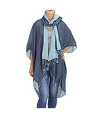 cotton jacket and scarf set, 'blue mystique' (thailand)