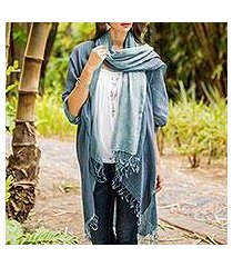 cotton kimono jacket and scarf set, 'blue mystique' (thailand)