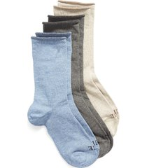 women's hue jeans 3-pack crew socks, size one size - grey