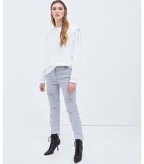 motivi jeans a sigaretta con strappi donna grigio