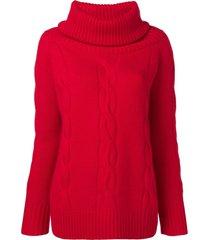 philo-sofie embossed turtleneck sweater - red