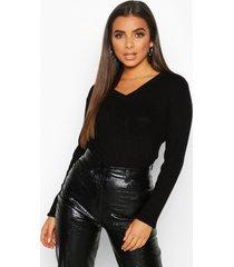 geribbelde sweater met v-hals, zwart