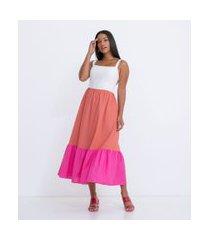 vestido midi em linho com camadas em três cores e laços nas costas | a-collection | multicores | g