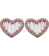 halo cubic zirconia & baguette heart earrings in fine silver plate