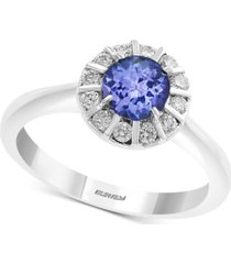 effy tanzanite (5/8 ct. t.w.) & diamond (1/4 ct. t.w.) ring in 14k white gold