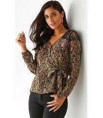 blusa con lazo con estampado de serpiente marrón yoins diseño v cuello