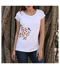 cotton blend madhubani t-shirt, 'chirping delight' (india)