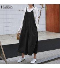 zanzea mujeres bib pantalones trajes de playsuit peto romper pierna ancha del mono -negro