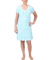 miss elaine plus size short knit nightgown