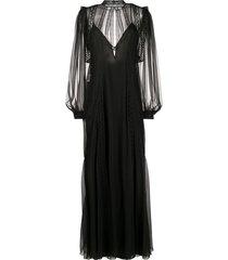 alberta ferretti lace-panel silk gown - black