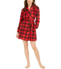 muk luks women's cozy short fleece robe