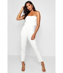 bandeau tailored woven slim fit jumpsuit, ivory
