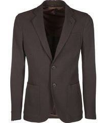 giorgio armani brown virgin wool-viscose blend blazer