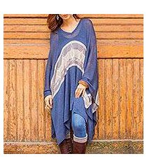 cotton blend poncho, 'blue inca' (peru)